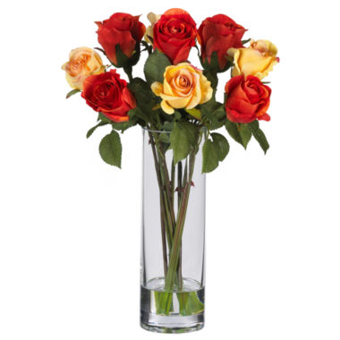jcpenney.com | Nearly Natural Roses Silk Flower Arrangement with Glass Vase