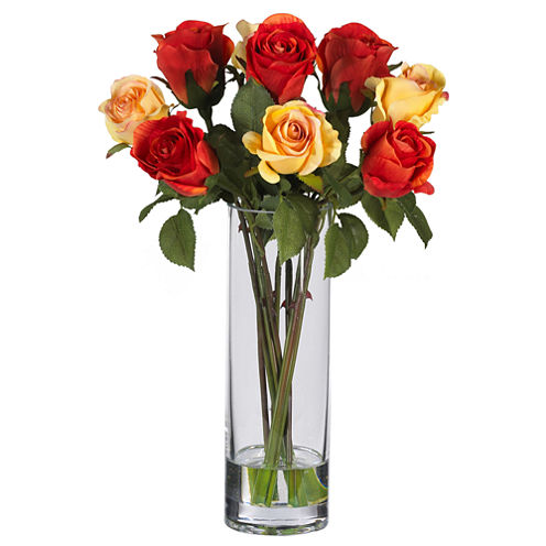 Nearly Natural Roses Silk Flower Arrangement with Glass Vase