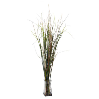 jcpenney.com | Nearly Natural Grass & Bamboo With Glass Vase Silk Plant