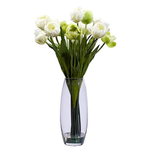 Nearly Natural Tulip Silk Flower Arrangement with Vase