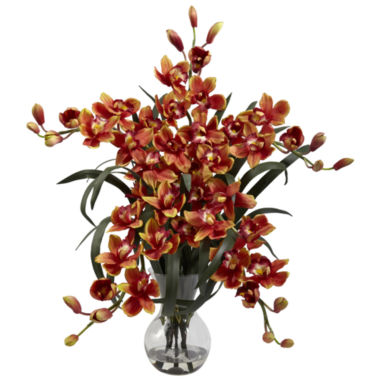 jcpenney.com | Nearly Natural Large Cymbidium With Vase Arrangement