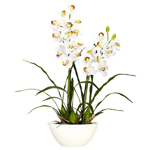 Nearly Natural Cymbidium With White Vase Silk Flower Arrangement