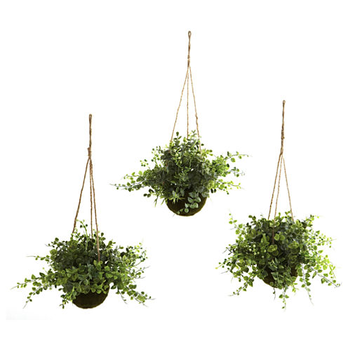 Nearly Natural Eucalyptus, Maiden Hair & Berry Hanging Basket Set Of 3
