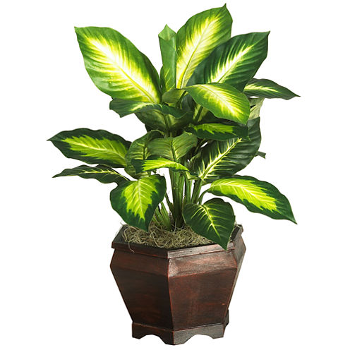 Golden Dieffenbachia With Wood Vase Silk Plant