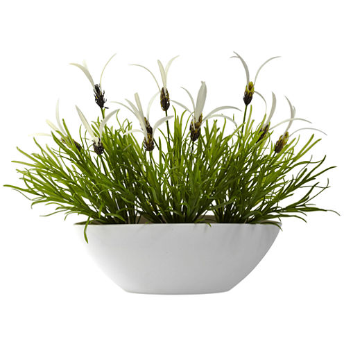 Nearly Natural Grass & White Floral With White Planter Indoor/Outdoor