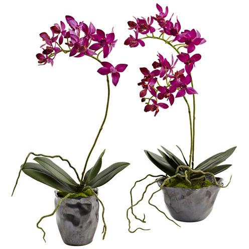 Nearly Natural Mini Phalaenopsis With Metallic Vase Set Of 2