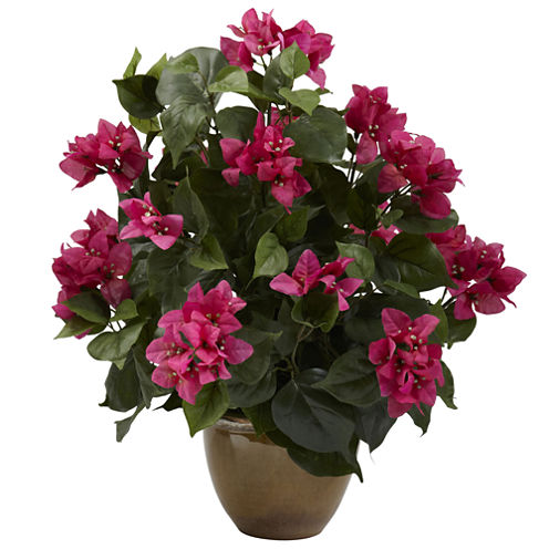 Nearly Natural Bougainvillea With Ceramic Vase