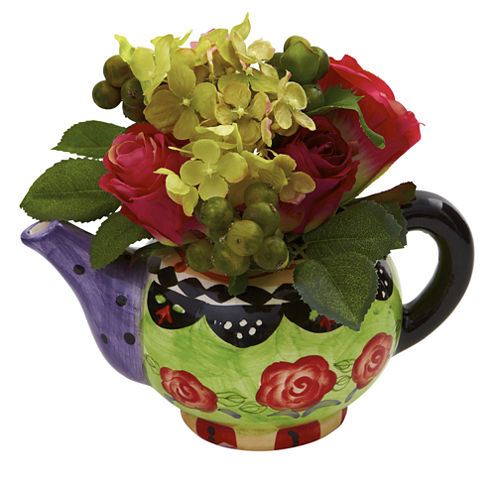 Nearly Natural Rose & Hydrangea With Decorative Vase