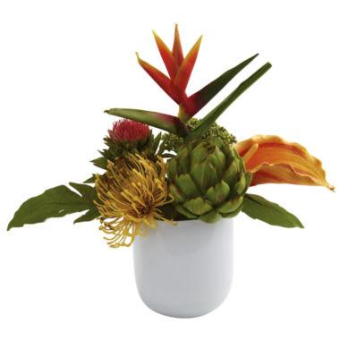 jcpenney.com | Nearly Natural Tropical Floral Arrangement With White Glass Vase