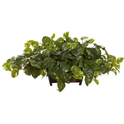Nearly Natural Pothos with Rectangle Decorative Planter