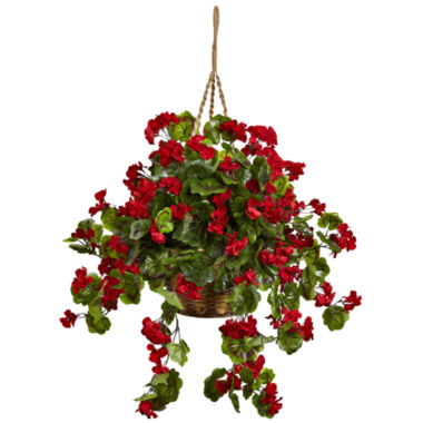 jcpenney.com | Nearly Natural Geranium Hanging Basket Uv Resistant Indoor/Outdoor