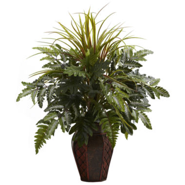 jcpenney.com | Nearly Natural Mixed Grass & Fern With Decorative Planter