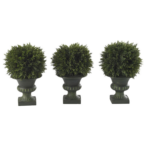 """Nearly Natural 9"""" Cedar Ball Topiary Set Of 3"""