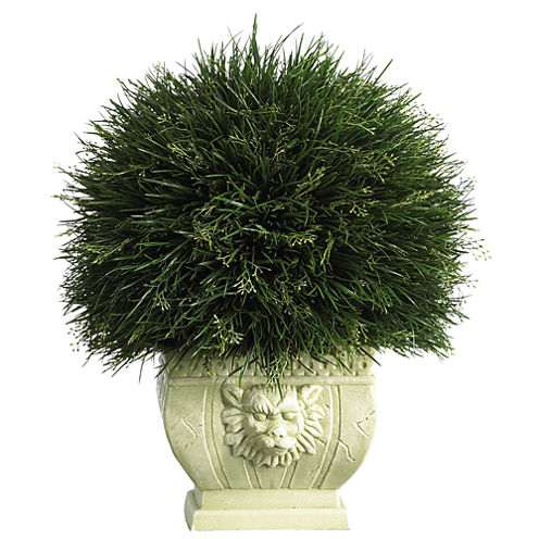Potted Grass With White Vase Indoor/Outdoor