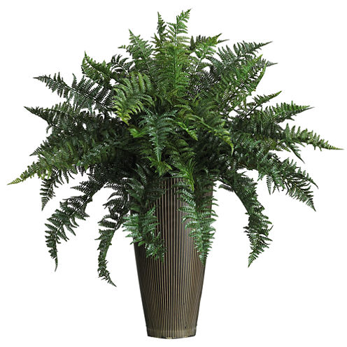 Nearly Natural Ruffle Fern Silk Plant with Decorative Vase