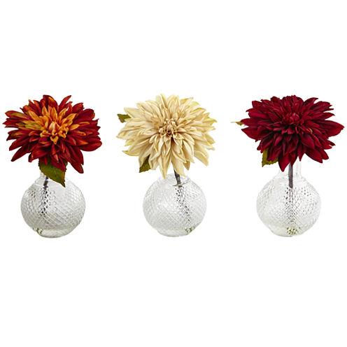Dahlia With Decorative Vase Set Of 3