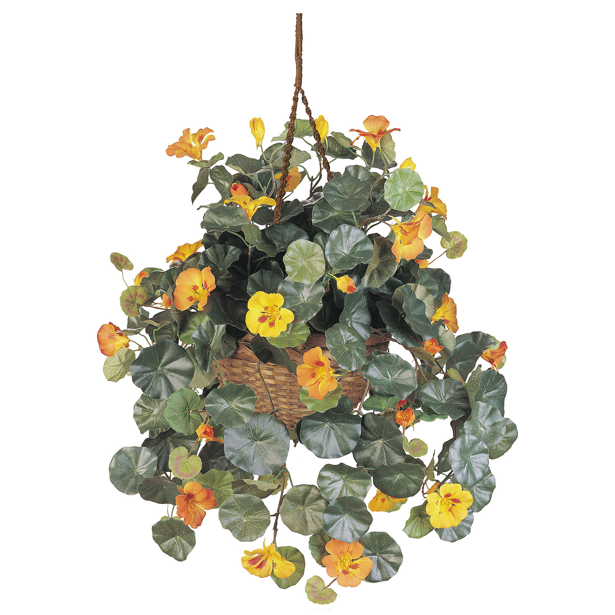 Hanging Flower Baskets Home Depot Canada : Upc nearly natural silk nasturtium hanging