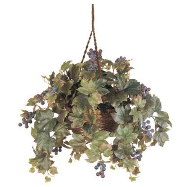 jcpenney.com | Nearly Natural Grape Leaf Hanging Basket Silk Plant