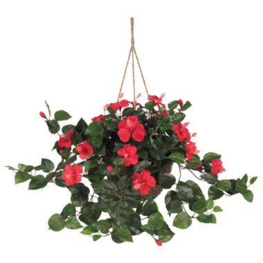 jcpenney.com | Nearly Natural Hibiscus Hanging Basket