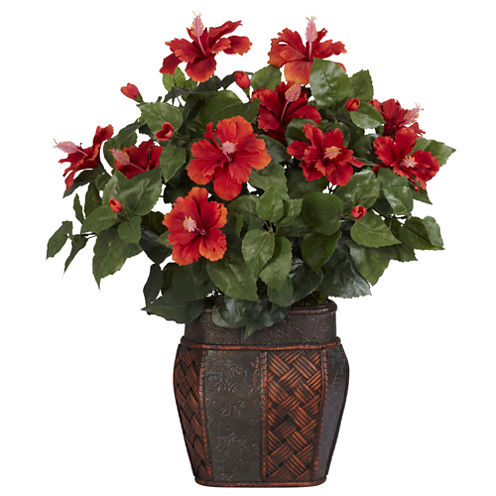 Nearly Natural Hibiscus Silk Plant with Vase