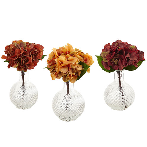 Nearly Natural Set of 3 Autumn Hydrangea with Vase