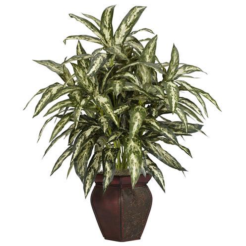 Nearly Natural Aglonema With Decorative Vase Silk Plant