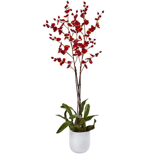 Nearly Natural Dancing Orchid with White Glass Vase
