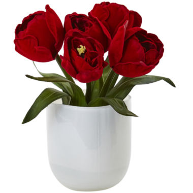 jcpenney.com | Nearly Natural Tulips with White Glass Vase