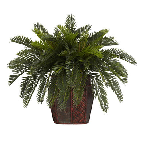 Nearly Natural Double Cycas Silk Plant with Vase