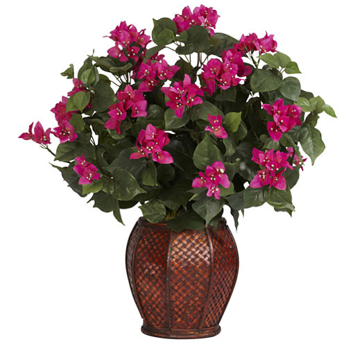 Nearly Natural Bougainvillea Silk Plant with Vase