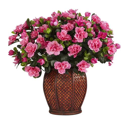 Nearly Natural Azalea Silk Plant with Vase
