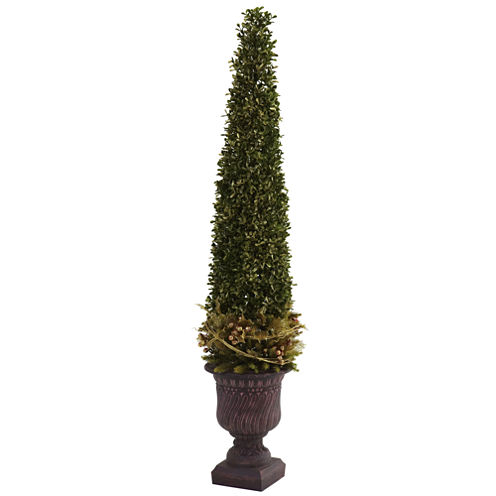 Nearly Natural Mixed Golden Boxwood & Holly Topiary With Urn