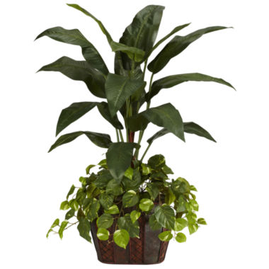 jcpenney.com | Nearly Natural 4-ft. Bird of Paradise & Pothos Silk Plant with Vase