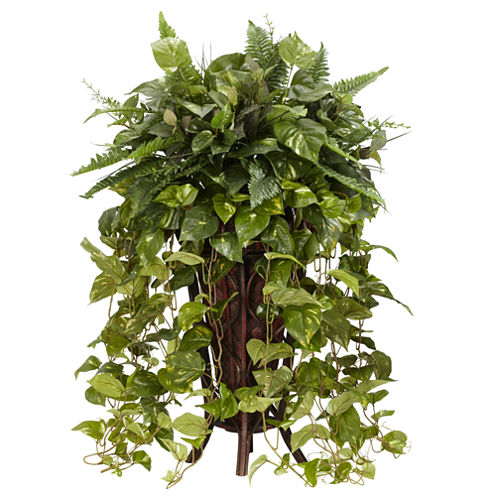 Nearly Natural Vining Mixed Greens With Decorative Stand Silk Plant