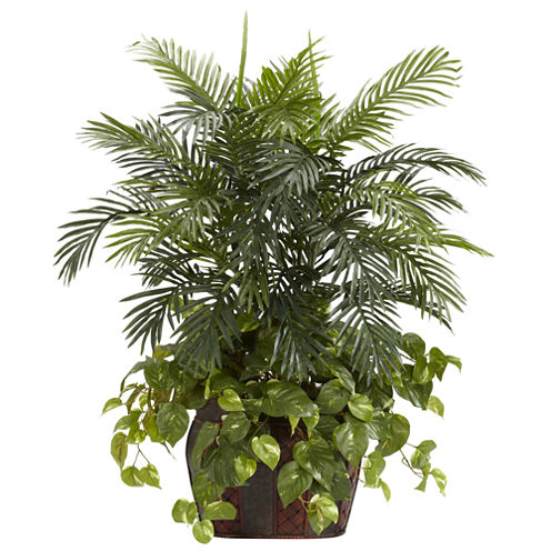 Nearly Natural 3.5-ft. Double Areca & Pothos Silk Plant with Vase