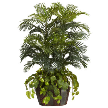 jcpenney.com | Nearly Natural 4.5-ft. Double Areca & Pothos Silk Plant with Vase