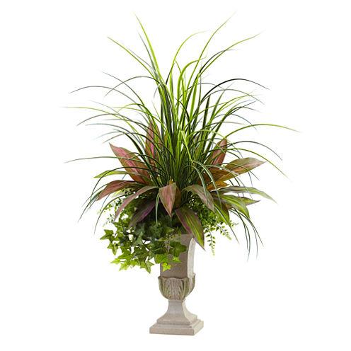 3' Mixed Grass, Dracena, Sage Ivy & Fern With Planter
