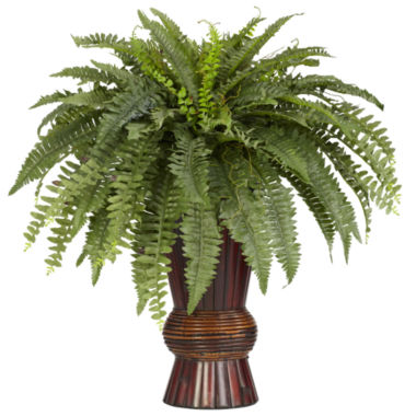 jcpenney.com | Nearly Natural Boston Fern Silk Plant with Bamboo Vase
