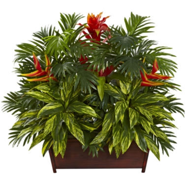 jcpenney.com | Nearly Natural Tropical Garden with Wood Planter