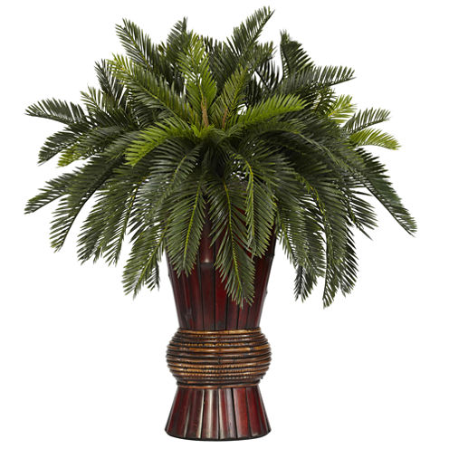 Nearly Natural Cycas Silk Plant with Bamboo Vase