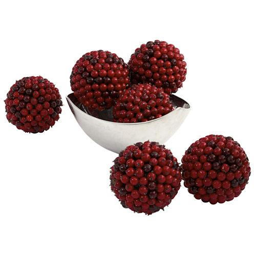 Nearly Natural 5 Red Berry Ball Set Of 6