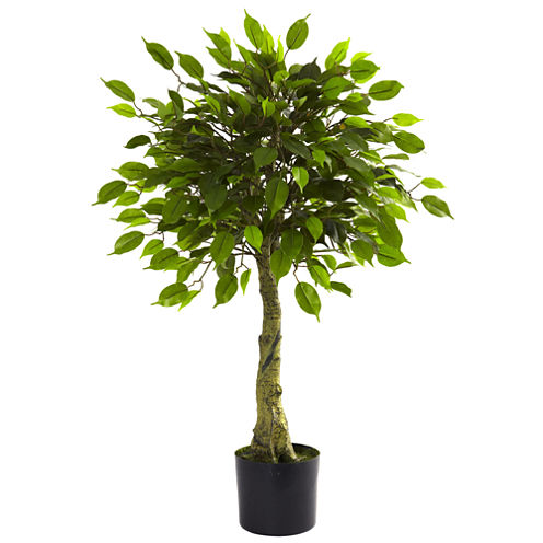 Nearly Natural 3-ft. Ficus Tree UV-Resistant Indoor/Outdoor