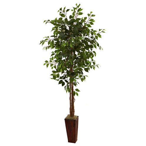 Nearly Natural 6-ft. Ficus Tree With Bamboo Planter