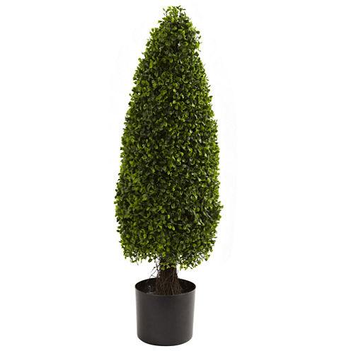 Nearly Natural 3-ft. Boxwood Tower Topiary UV-Resistant  Indoor/Outdoor