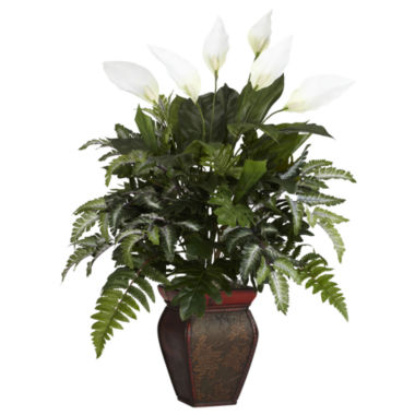 jcpenney.com | Nearly Natural Mixed Greens With Spathiphyllum & Decorative Vase Silk Plant