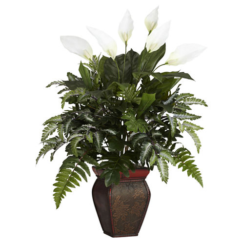 Nearly Natural Mixed Greens With Spathiphyllum & Decorative Vase Silk Plant