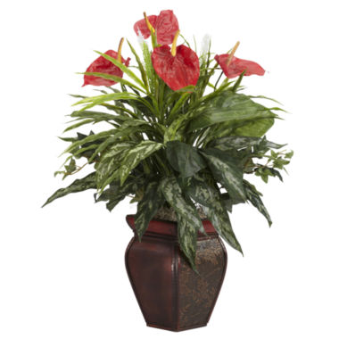 jcpenney.com | Mixed Greens & Anthurium With Decorative Vase Silk Plant