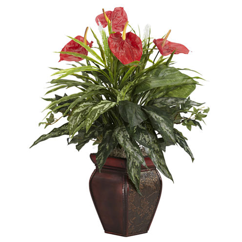 Mixed Greens & Anthurium With Decorative Vase Silk Plant