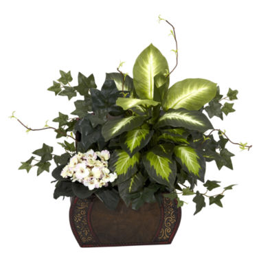 jcpenney.com | Nearly Natural African Violet, Dieffenbachia & Ivy With Chest Silk Plant