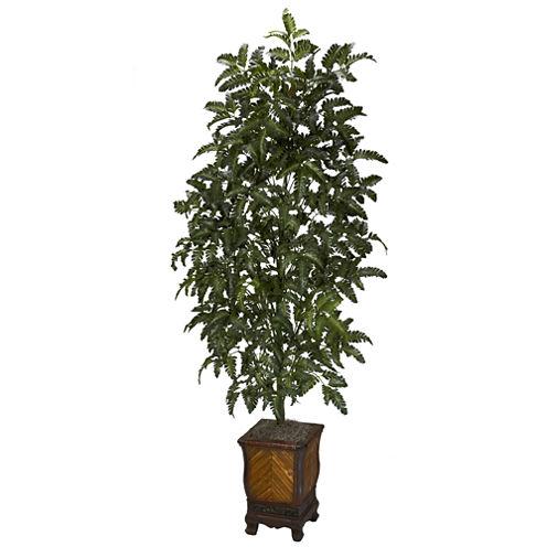Nearly Natural Bracken Fern With Decorative Vase Silk Plant